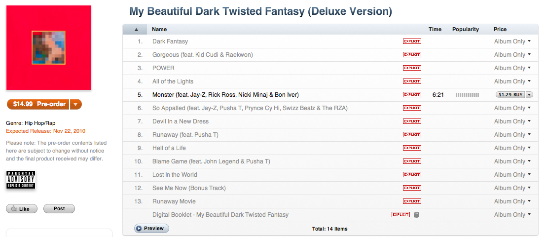 Kanye West's My Beautiful Dark Twisted Fantasy tracklist revealed